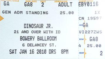 dinosaur jr. ticket @ bowery ballroom